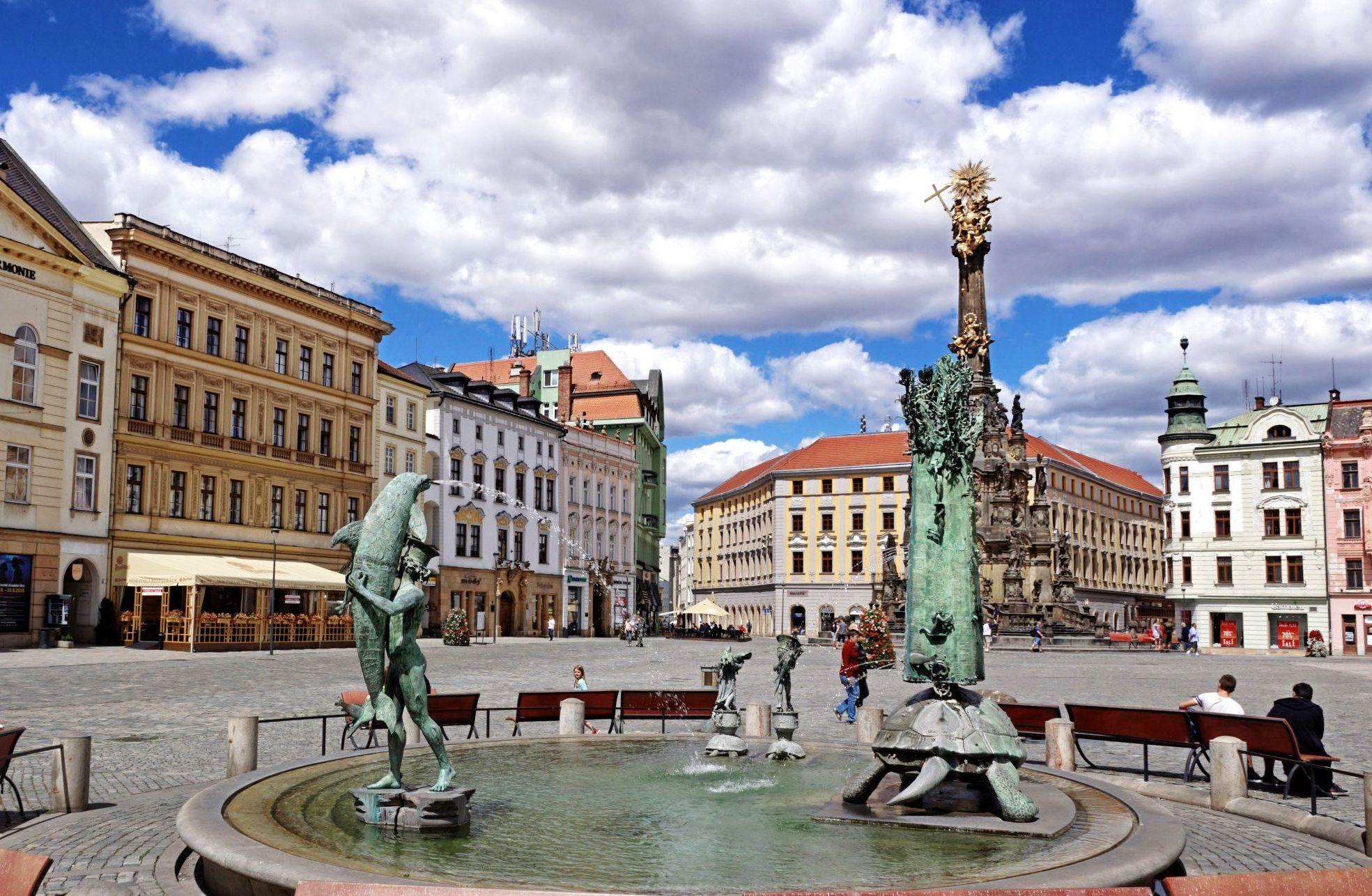 Jedna z fontann, z których Olomuniec słynie